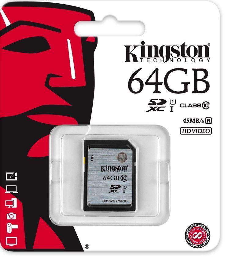 Карта памяти KINGSTON 64GB SECURE DIGITAL SDXC CLASS 10 (фото)