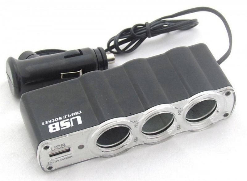 Разветвитель прикуривателя WF-039 4 гнезда 2-USB 1А