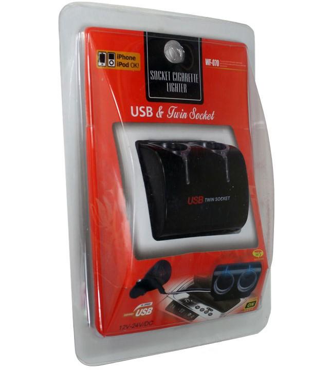 Разветвитель прикуривателя WF-070 2 гнезда 1-USB 1А