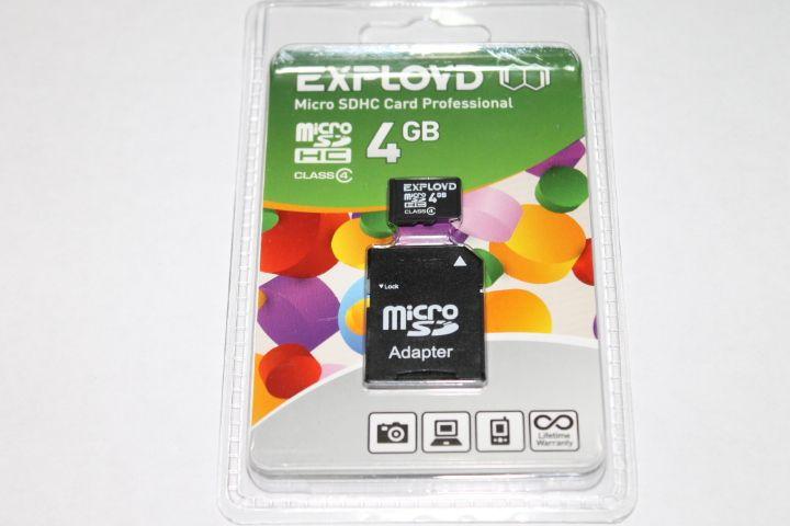 Карта памяти EXPLOYD 4GB MICRO SDHC CLASS 4 + SD адаптер