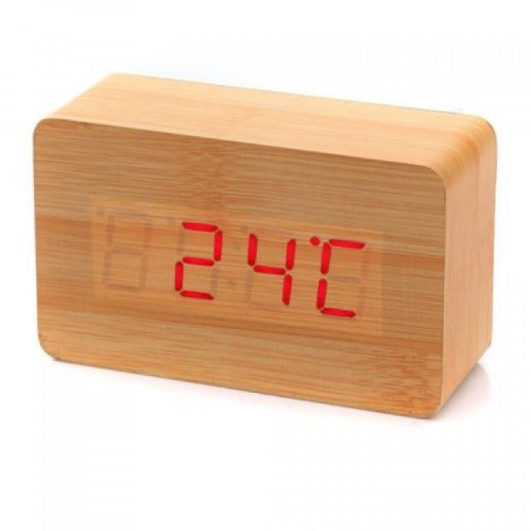 Часы (деревянные)+дата+температура VST-863/1 (красный)