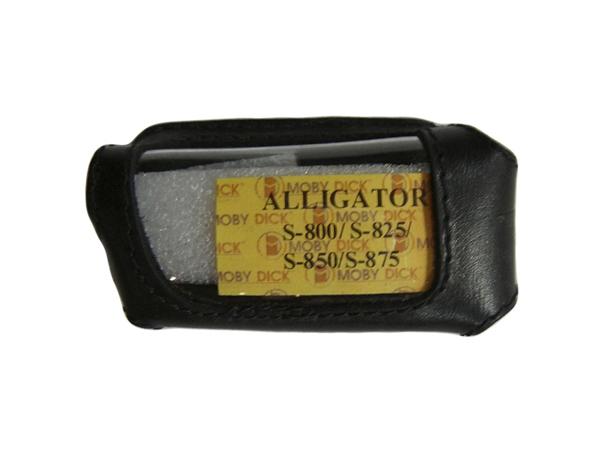 Чехол на сигнализацию ALLIGATOR S-800/S-825/S-875 кобура на подложке с кнопкой, кожа чер.