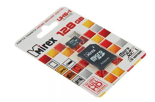 Карта памяти MIREX 128GB MICRO SDHC CLASS 10 +адаптер