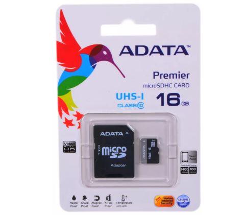 Карта памяти ADATA 16GB MICRO SDHC CLASS 10 + SD адаптер AUSDH16GUICL10A1-RA1