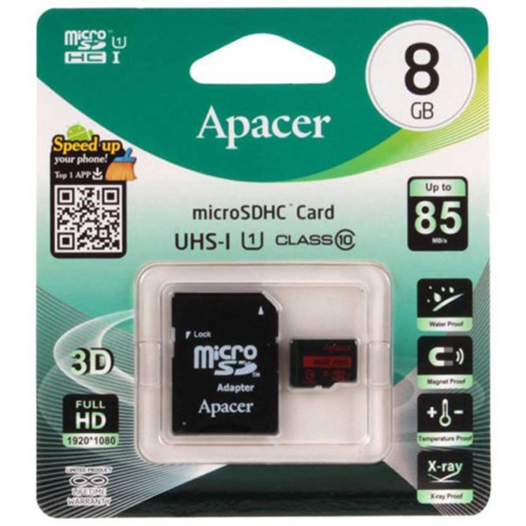 Карта памяти APACER 8GB MICRO SDHC CLASS 10 plus adapter AP8GMCSH10-R